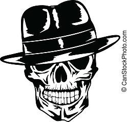 czaszka, kapelusz, gangster