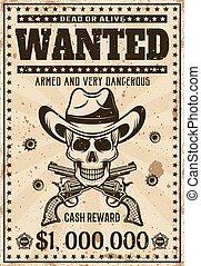 czaszka, kowboj, rocznik wina, western, afisz, poszukiwany