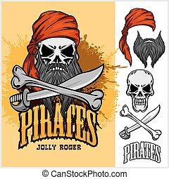 czaszka, krzyż, czerwony, miecz, kapitałka, pirat, kość