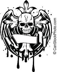 czaszka, skrzydełka, krzyż