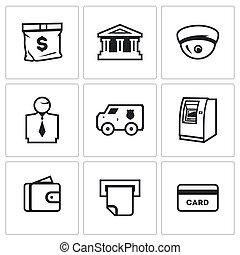 czek, komplet, card., bankowość, pieniądze, icons., atm, cctv, bankier, wektor, portfel, wóz, służby, torba, kolekcjoner, gmach, bank