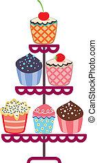 czekolada, stać, owoc, komplet, cupcakes, wektor