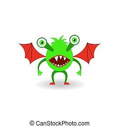 czerwona zieleń, potwór, skrzydełka, rysunek