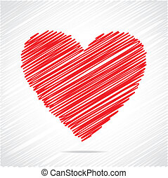 czerwone serce, rys, projektować
