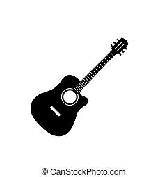 czerwone tło, gitara, biały, elektryczny, odizolowany