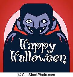 czerwony, życzenia, światło księżyca, rysunek, litera, tło., strzyga, halloween., szczęśliwy, dracula