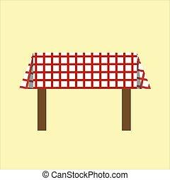 czerwony biel, klatkowy, tablecloth., stół