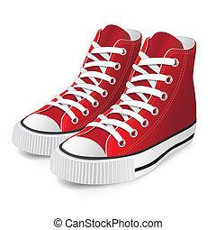 czerwony, bucik, lekkoatletyka