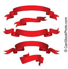 czerwony, chorągwie, (vector)