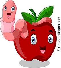 czerwony, glista, sprytny, jabłko