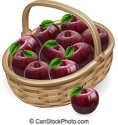 czerwony, ilustracja, kosz, jabłko