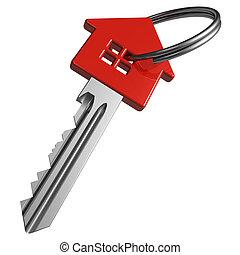 czerwony, klucz, house-shape