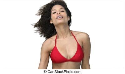 czerwony, kobieta taniec, bikini