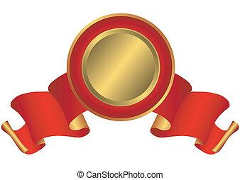 czerwony, nagroda, złoty, (vector)