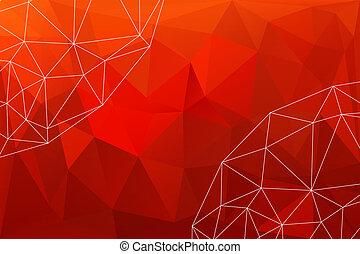 czerwony, polygonal, tło, abstrakcyjny