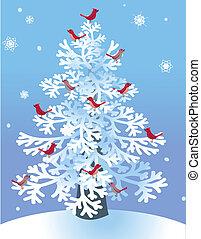czerwony, ptaszki, sosna, zima