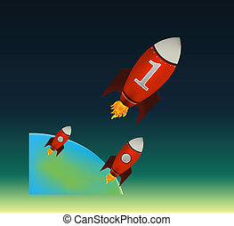 czerwony, rakiety, początkowy