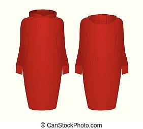 czerwony strój, hoodie
