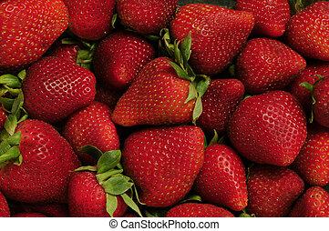 czerwony, truskawki, stos