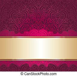 czerwony, złoty, tło, zaproszenie