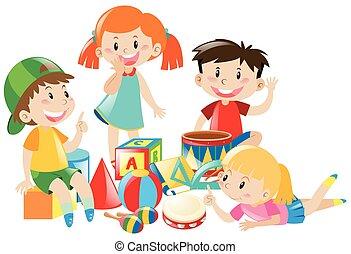 cztery, dzieciaki, interpretacja, zabawki