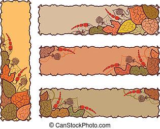cztery, jesień, chorągwie, komplet