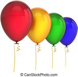 cztery, kolor, urodziny, balony
