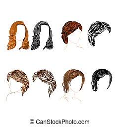 cztery, komplet, długi, kasownik, włosy