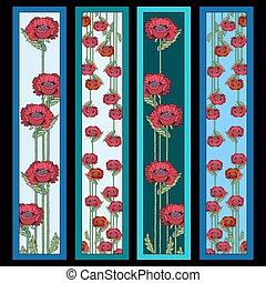 cztery, maki, komplet, kwiaty, bookmarks