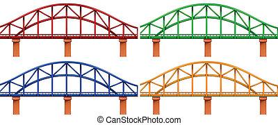 cztery, mosty, barwny