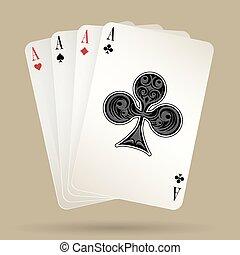 cztery, pogrzebacz, zwycięski, garnitur, asy, bilety, ręka, interpretacja