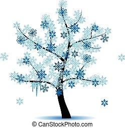 cztery, pora, -, zima drzewo