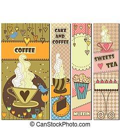 cztery, słodki, kawa, chorągwie, deser