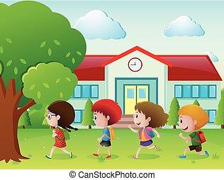 cztery, szkoła, chodzenie, dzieciaki