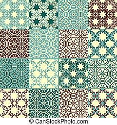 cztery, wzory, komplet, seamless, wektor