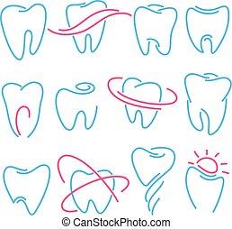czuć się, komplet, ikony, stomatology, ząb, tło., dentysta, używany, klinika, może, logo, biały, stomatologiczny, zęby, albo