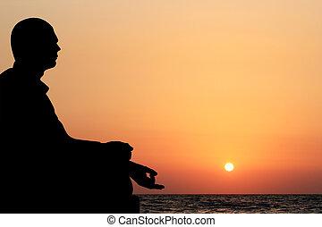 czuć się, medytacja, tło., lotos, słońce, posiedzenie, niebo, młody, żółty, ocean, również, wieczorny, zmontowanie, może, położenie, pomarańcza, zobaczony, rozmyślanie, plaża, zasłona, człowiek