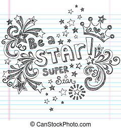 czuć się, sketchy, wektor, gwiazda, doodles