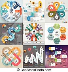 czuć się, używany, chorągiew, handlowy, workflow, timeline, set., liczba, układ, diagram, infographic, sieć, szablon, opcje, projektować, elementy, może