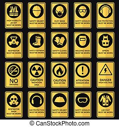 czuć się, używany, wyposażenie, zdrowie, bezpieczeństwo, signs., musieć