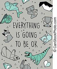 czuć się, wektor, wszystko, chodzenie, origami, karta, ok.