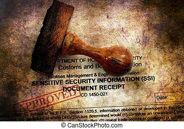 czuciowy, bezpieczeństwo, dokument, zatwierdzony