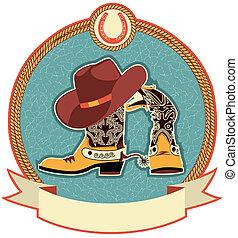 czyścibut, kapelusz, kowboj, etykieta