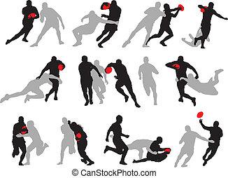czyn, sylwetka, pozy, grupa, rugby