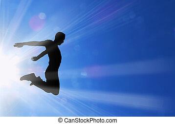 czynny, słońce, kroki, promienie, samiec