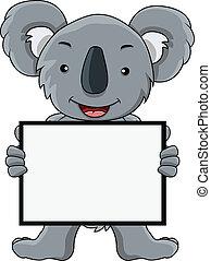 czysty, koala, rysunek, znak