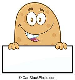 czysty, na, znak, uśmiechanie się, kartofel