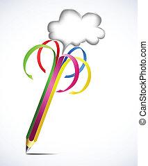 czysty, ołówek, wektor, barwny, bubbles.