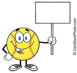 czysty, zabawny, znak, dzierżawa, softball