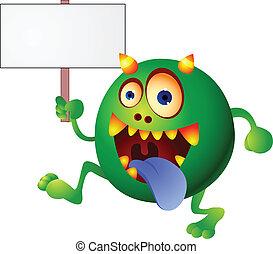 czysty, zielony potwór, znak